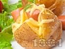 Рецепта Запечени картофи пълнени със сирене, кашкавал и кренвирши на фурна
